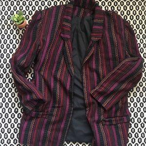 Vintage Look Multicolored Tribal Print Blazer
